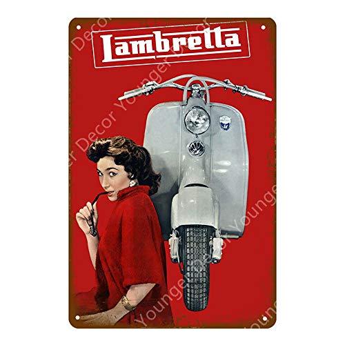 Shovv IJzeren schilderij tinnen metaal schilderij vintage metaal wandkunst blikken borden plastic Italiaanse scooter wandpaneel garage winkel huis decoratie poster 20x30cm Yd7490f.