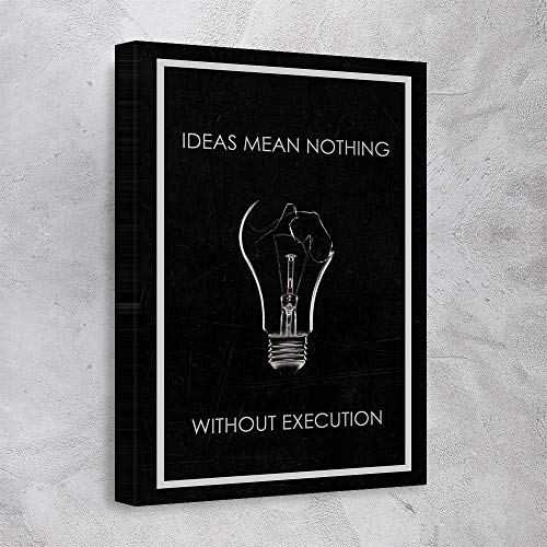 """""""AWESOMETIK"""" Ideas Mean Nothing Motivational Quote Canvas Print for Office Gym Home. Ready to Hang. Made in USA (30in x 45in Gallery Wrapped)"""