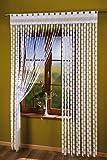 Clave griega para panel para cortina con cuerda gruesa blanca de 1,5 metros de ancho x 2,49 metros de caída. Borlas de cortina con flecos decorativos para puertas y ventanas.
