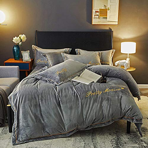 geek cook Magic velvet Fleece bedding set,Source of origin Simple European style crystal velvet four-piece set Double-sided French flannel bedding-Space Gray_Standard 2 * 2.3