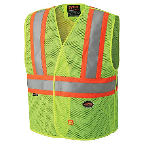 Pioneer High Visibility, Flame Resistant Vest with 3 Snap Button Front, Polyester Mesh, Reflective Tape, Yellow/Green, Unisex, L/XL, V2510860U-L/XL