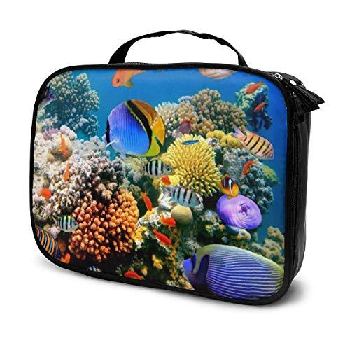 Underwater World tragbare Kosmetiktasche für den Außenbereich, mit Reißverschluss