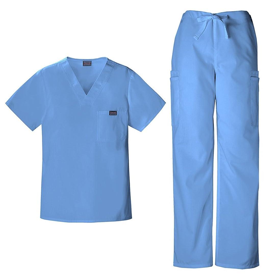 スーツケース病仲間、同僚チェロキーワークウェアメンズVネックトップ4789?& Drawstring Cargo Pant 4000スクラブセット カラー: ブルー