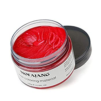 MOFAJANG Hair Coloring Dye Wax Wine Red Instant Hair Wax Temporary Hairstyle Cream 4.23 oz Hair Pomades Natural Hairstyle Wax for Men and Women Party Cosplay