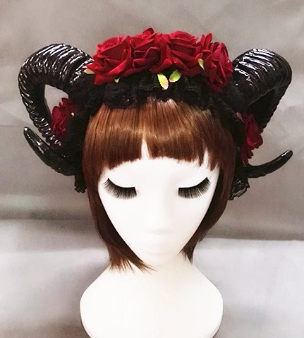 Restyle Schaf Horn Rose Blume Stirnband Gothic Beauty Horror Hörner Halloween schwarzer Schleier Spitze Retro Haarschmuck Vintage Changlesu (Ohne Schleier)