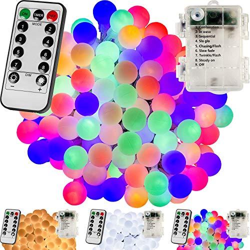 VOLTRONIC® 50 100 200 LED Party Kugel Lichterkette, BATTERIEBETRIEBEN, mit Timer, 8 Programme, Fernbedienung, für innen und außen, warmweiß/kaltweiß/bunt, IP44, Outdoor