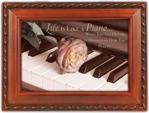 Cottage Garden Life Is Like A Piano Woodgrain Music Box Plays Unchained Melody by Elanze Designs