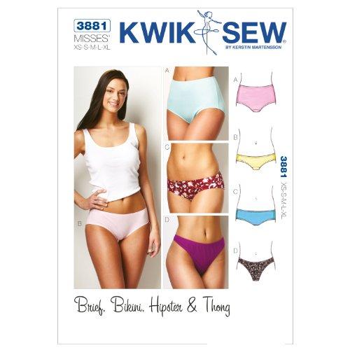 Kwik Schnittmuster K3881, Größe XS, S, M, L, XL, Unterhosen, Weiß, 1 Stück