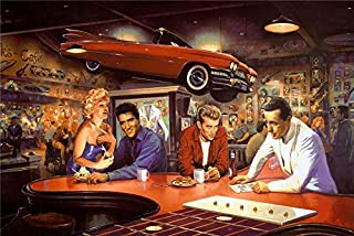 lihuaiart-James Dean,Marilyn Monroe,Elvis Presley,Humphrey Bogart,2 Sizes,Art Home Wall Decorations for Bedroom Living Room Oil Paintings Canvas Prints-588 (Framed,16x24inch)