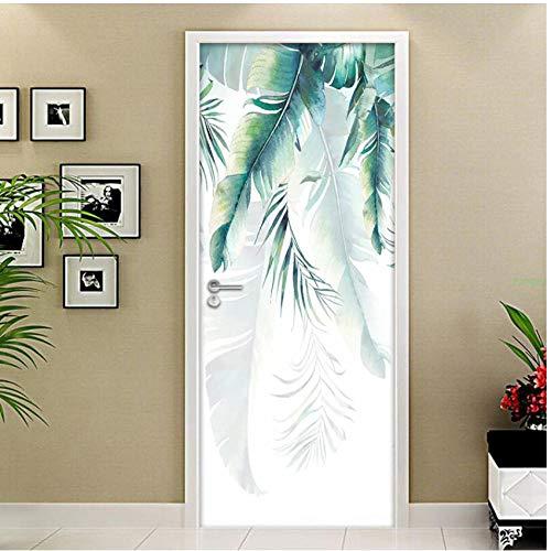 Yqgdss Handgemalte Grüne Blätter 3D Türtapete Tür Ausblick Fototapete Kleister Wand Kunst Haus Wohnzimmer Jungen Mädchen Badezimmer Aufkleber,95x215cm