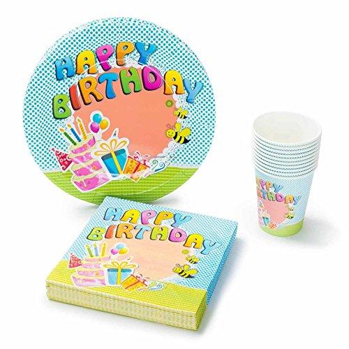 UMOI Set de Fiesta desechable para cumpleaños – 30 Platos de cartón, 30 Vasos de cartón y 60 servilletas para...