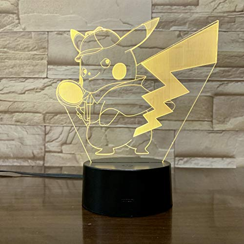 WoloShop LED-Lampe Pokémon Detective Pikachu Farbwechsel USB Nachtlicht