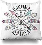 Mesllings Throw Fundas de almohada Apache Azteca Lettering Hakuna Matata Summer Phrase Tribal Vintage Plumas Slogan Positive Home Decor Funda de cojín de 45 x 45 cm