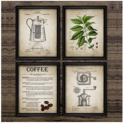 kldfig canvas schilderij huis moderne afbeelding afdrukken koffie maken retro percolator Noordse stijl wandkunst keuken restaurant decoratie 40 * 60 cm zonder lijst- 4 stuks