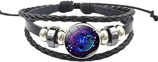 12 Constellation Star Leather Bracelet Adjustable Punk Bracelet Braided Rope Wristbands for Men Women