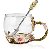 COAWG Enamel Large Glass Mug Chrysanthemum Crystal Clear Glass Tea Coffee Cups Travel Mugs withFlower Handle Teacher Friend Birthday Valentine's Day Gift for Women and Men 11oz-1pack