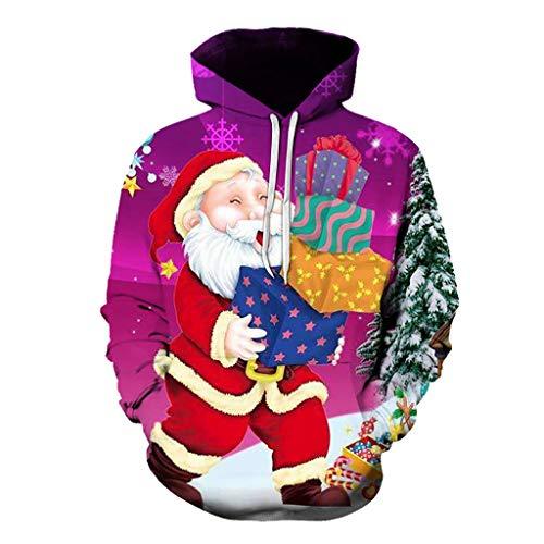 Dasongff Unisex kerstpullover grote maten Merry Christmas hoodie hoodie 3D capuchon pullover grappige pullover kerstpullover sweatshirts Kerstmis hoodie outwear S-6XL XX-Large lila