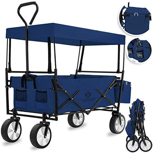 KESSER® Bollerwagen faltbar mit Dach Handwagen Transportkarre Gerätewagen | inkl. 2 Netztaschen und Einer Außentasche | klappbar | Vollgummi-Reifen | bis 100 kg Tragkraft | (Blau / Navy