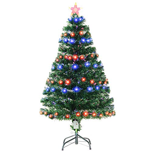 HOMCOM 4FT Tall Artificial Tree Multi-Colored Fiber Optic LED Pre-Lit Holiday Home Christmas Decoration, Green