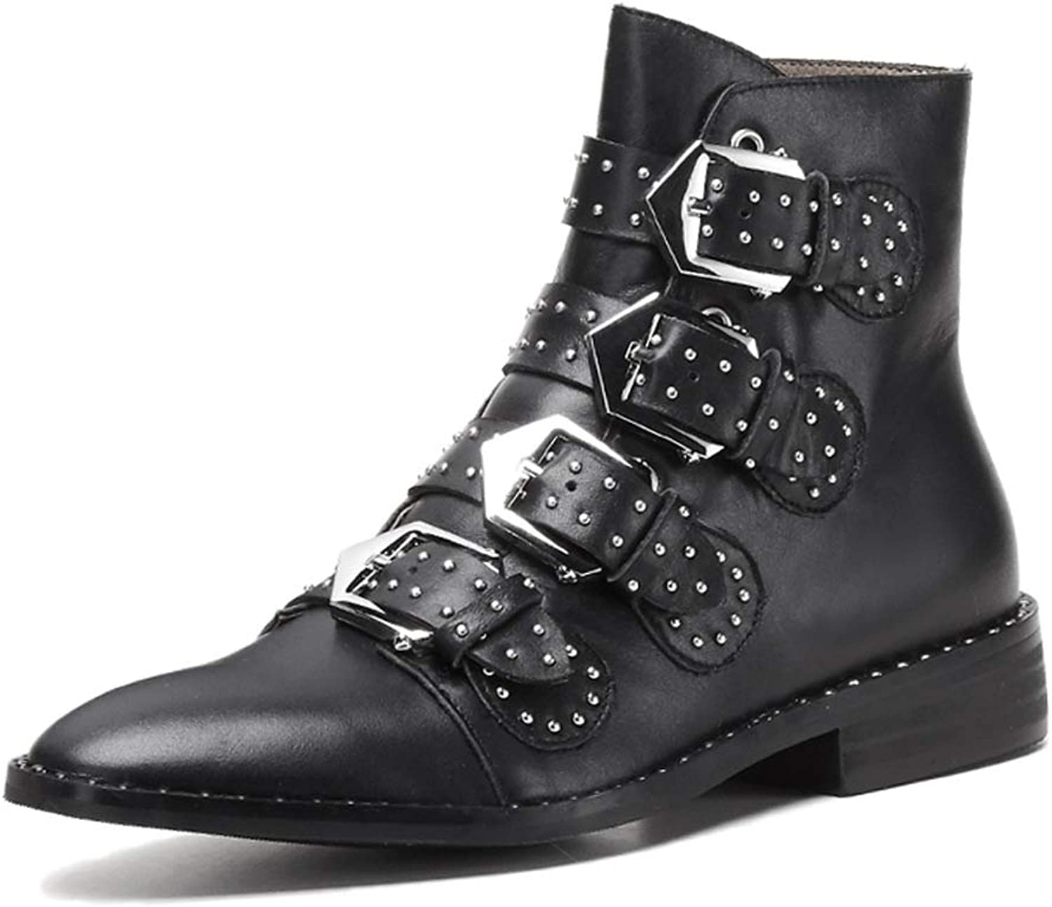 Brand Design Genuine Leather Ankle Bootie Punk Style Rivets Buckle Women Boots Chunky Heel shoes