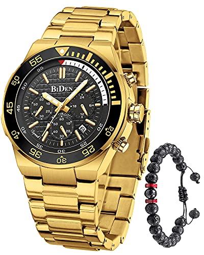 Herren Uhr Analog Quarz Chronographen Wasserdicht 30M Edelstahl Uhren Gold Schwarz Business Mode Casual Sport Gold Blau Design Armbanduhr für Herren