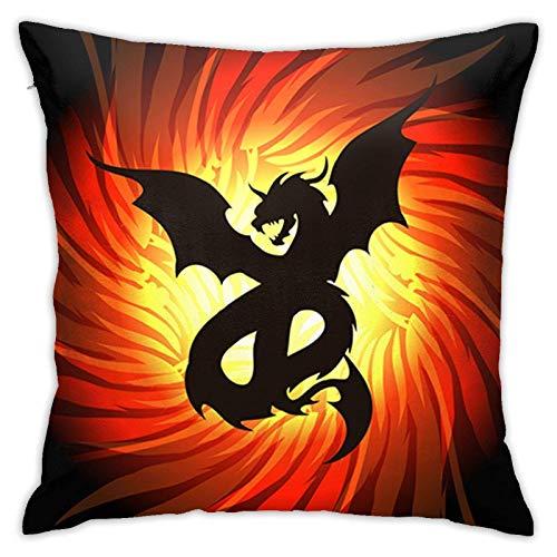 xiancheng Dragon in Whirlpool of Fire Couvre-oreillers décoratifs vectoriels 18x18 Pouces pour canapé-lit de Voiture