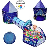 LOJETON 3pc Ocean World Kids Play Tent, Tunnel & Ball Pit with Basketball Hoop for Boys, Girls and...