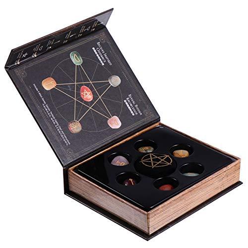 VILLCASE 1 Caja de Piedras de Chakra Conjunto de Cristales Curativos para Balancear La Energía de La Meditación Buena Suerte