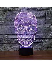 Nowa lampka nocna 3D czaszka iluzja lampa 7 zmieniających się kolorów LED dotyk USB stół prezent zabawki dla dzieci dekoracje Boże Narodzenie Walentynki prezent