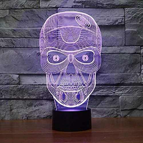 Lámpara de noche con diseño de calavera en 3D, 7 colores cambiantes LED táctil USB, regalo para niños, decoración de Navidad, San Valentín