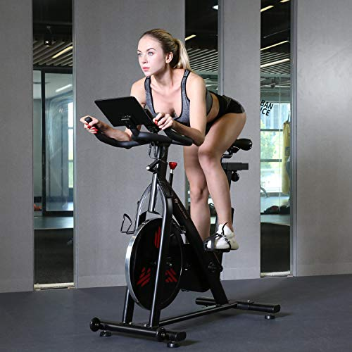 Finer Form Indoor Exercise Bike with 35 Lb Flywheel Belt-Driven Stationary Bike - Tablet iPad Holder, LCD Monitor, Cadence Reading, and SPD Compatible Pedals