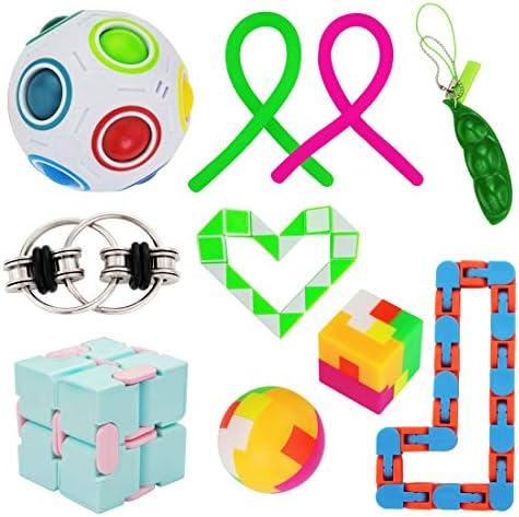 VQVAAQ 10 Packs Infinity Cube Squeeze Bean Rainbow Magic Balls Flippy Chain Fidget Toy product image