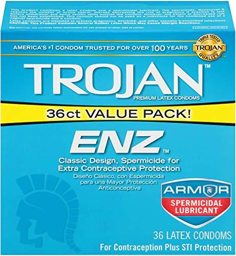 Trojan ENZ Armor Spermicidal Lubricated Condoms - 36 Count