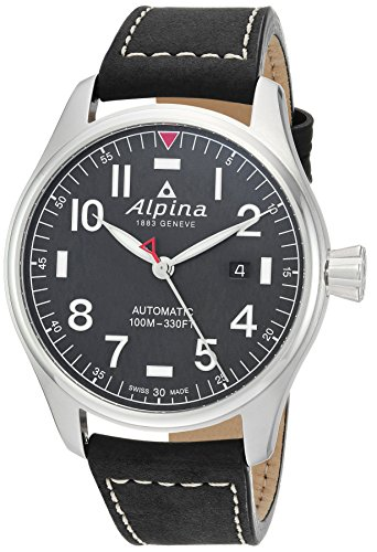 Price comparison product image Alpina Men's Startimer Stainless Steel Swiss-Automatic Watch with Leather Strap,  Black,  21 (Model: AL-525NN4S6)