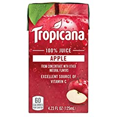 44 juice boxes, 4.23 ounces each Delicious Tropicana 100 percent Apple Juice combines the taste, quality, and convenience you love These juice boxes are perfect for packing in a lunch, enjoying at school, home, or on the go Only 60 Calories per carto...