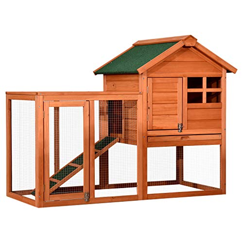 Lovupet Wooden Rabbit Bunny Hutch Outdoor Chicken Coop Dog House with Run 2020 (Natural)