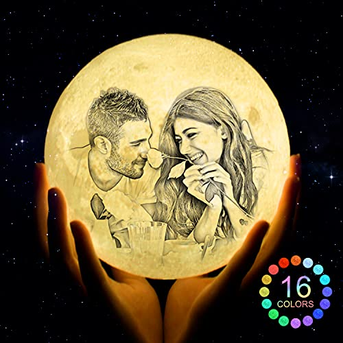 Personalized Custom Moon Lamp with Photo Text, Customized Moon Night...