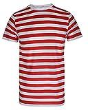 Camiseta de rayas para hombre, color rojo y negro y azul y negro Red/White Stripe T-Shirt XL