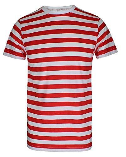 Camiseta de rayas para hombre, color rojo y negro y azul y negro Red/White Stripe T-Shirt M