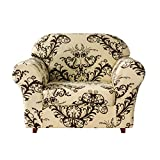 TIKAMI 2-Piece Sofa Slipcovers Spandex Printed Fit Stretch Couch Cushion Cover Washable Furniture Protector(Small,Coffee)