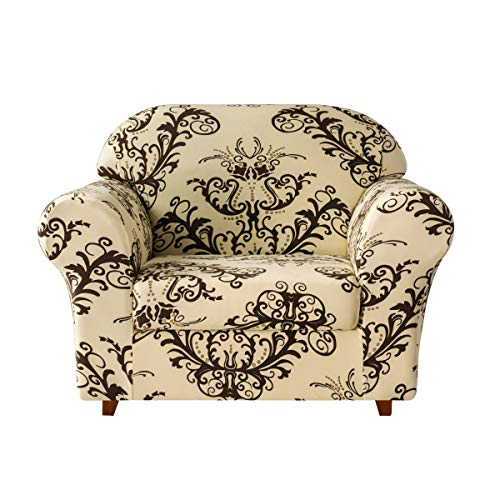 TIKAMI Stretch Sofa Printed Slipcovers Couch Cushion Cover Washable Furniture Protector, Small, Coffee