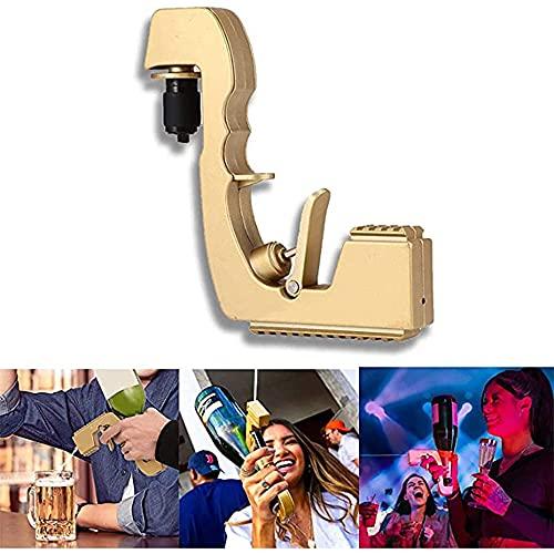YFY Champagne Gun, Champagne Bubbly Blaster, Tapón de Vino Champagne Dispensador de Vino Fountain Bottle Eyector Feeding Flirt Pistola para la Fiesta de Bodas Night Club Bar Herramienta (Oro)