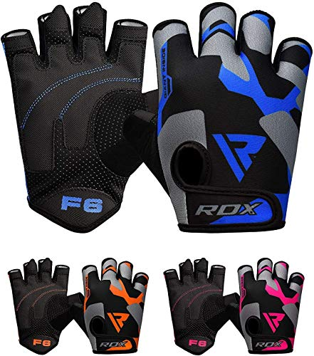 RDX Weight Lifting Gloves Gym Fitness, Anti Slip Padded Palm Grip Protection, Elasticated Breathable, Powerlifting Bodybuilding Workout Strength Training Equipment, Half Finger, Cycling Calisthenics