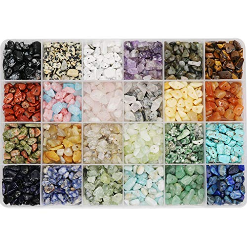 Civilipi 24 Color Gemstone Beads Natural Stones Chip Bead Irregular Shaped Bead Crystal Quartz Stone for DIY Earring Bracelet Necklace Making for Halloween Gift