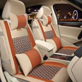 FREESOO Car Seat Cover Leather, Front Rear Full Set Luxury Car Seat Covers Universal Fit for 5 Seats Most Cars SUV Pick Up Truck Interior Accessories(Khaki Orange)