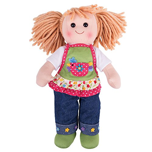Bigjigs Toys Sophia 34cm Soft Doll in Denim Jeans met Schort - Rag Doll voor Kinderen