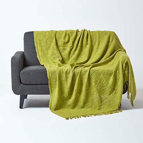 Homescapes Nirvana - Copriletto trapuntato lavorato a mano, con nodi, 225 x 255 cm, 100% puro cotone, con frange, colore: Verde mela