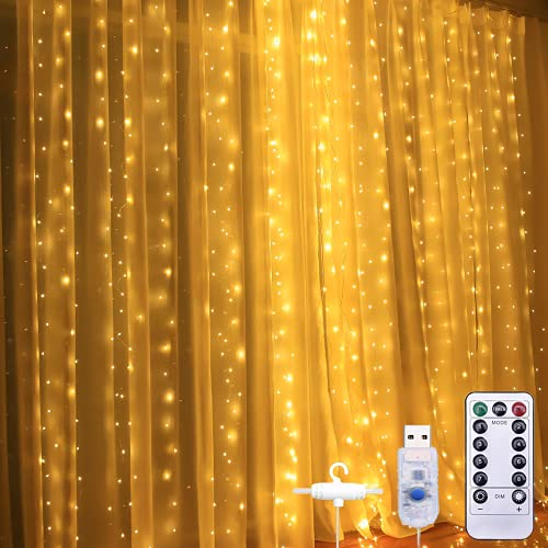 LIGHTDOT 3Mx3M 300 LED Luces, Cortina de Luces LED con control remoto, Lámparas Decorativas Impermeables al aire libre y interior, Decorado para Boda, Navidad, Fiestas, Casa,...