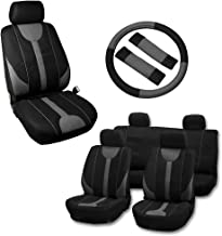 OCPTY Car Seat Cover, Stretchy Universal Seat Cushion W/Steering Wheel Cover Breathable Automotive Accessories Washable Polyester for Most Cars(Black/Gray)