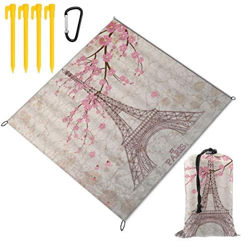 VORMOR Couverture de Pique-Nique,Vintage Paris Tour Eiffel Rétro Fleur Rose Fleur de Cerisier Floral Marbre Romance Ville France Paysage